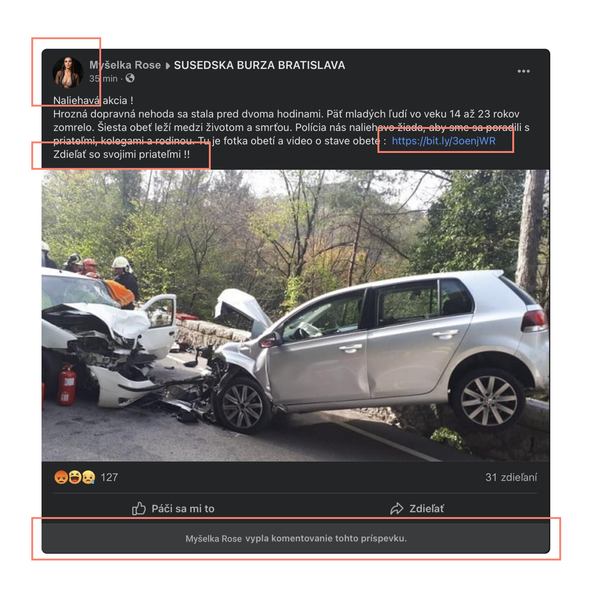 Falošný príspevok o autonehode - indície