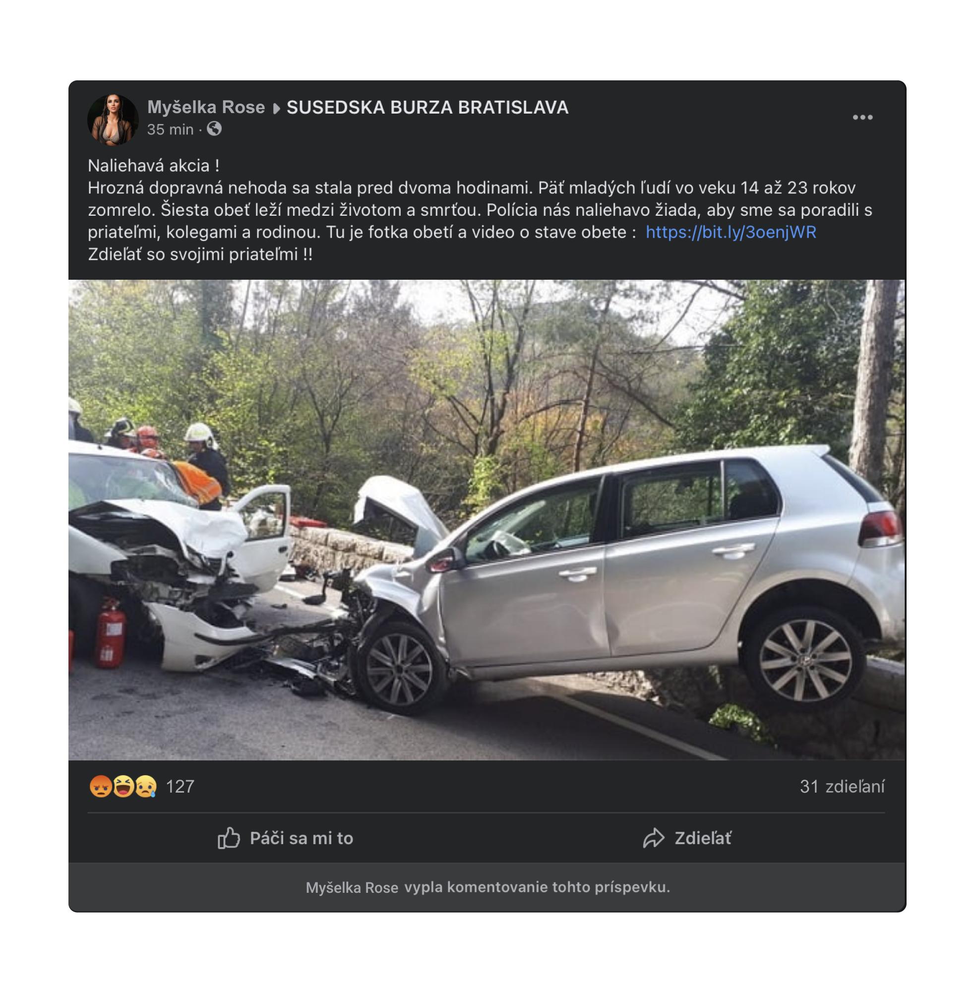 Falošný príspevok o autonehode